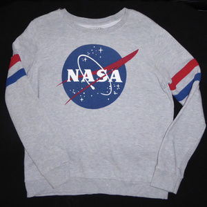 WOMENS NASA SWEATSHIRT GRAY SHIRT MIGHTY FINE L